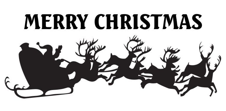 Merry Christmas: Santa Sleigh and Reindeer